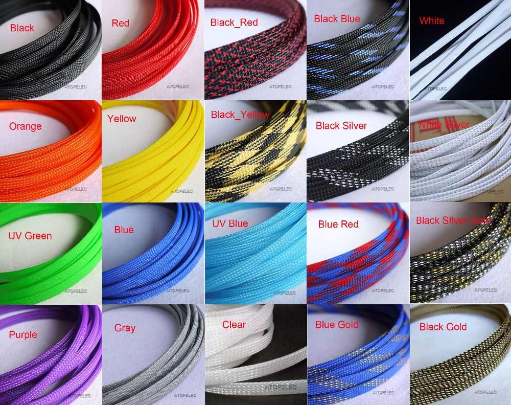 hight resolution of detail feedback questions about 8mm wide 5 16 tight braided pet expandable sleeving cable wire sheath black red yellow green blue purple gray white clear
