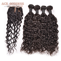 ACE GODDESS Brazilian Natural Wave With Closure Free/Middle/3 Part Silk Base Closure Virgin Hair 3 Bundles With Closure