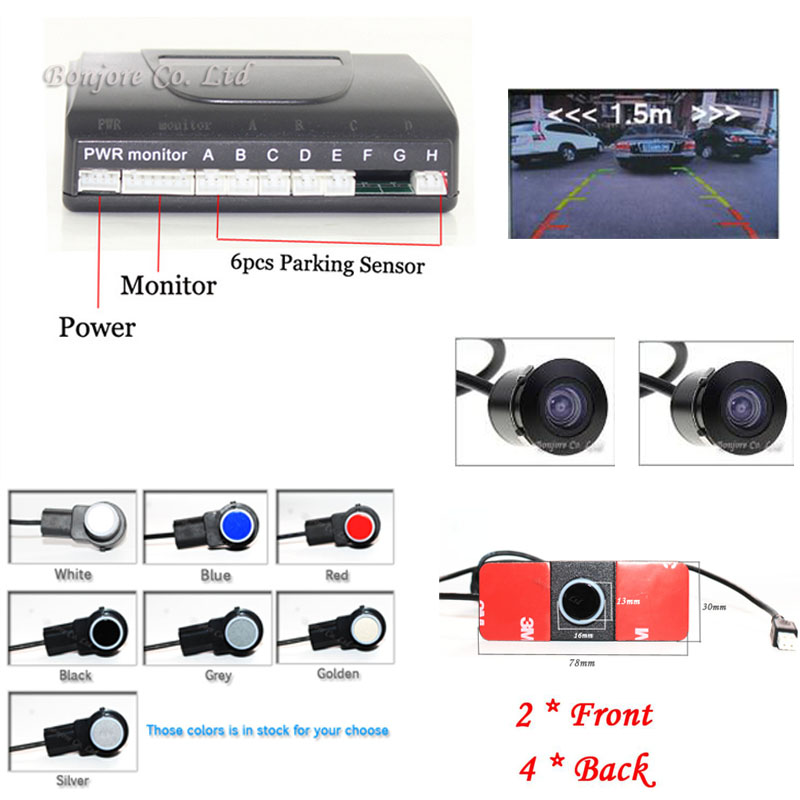 Car Parking Sensor System with 6PCS 16mm Sensors(2 front 4 rear) & 18.5mm CCD car Rear view camera car front camera Video for ford escape maverick mariner car parking sensors rear view back up camera 2 in 1 visual alarm parking system