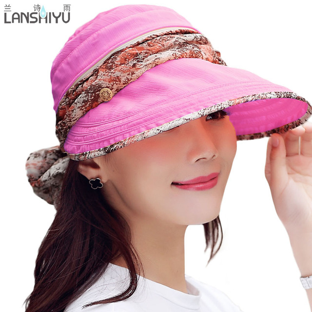 be4a2ab6 Wholesale Fashion Face Protection Sun Hat Summer Foldable Hats For Women  Anti-UV Wide Big Brim Adjustable Women Hat Summer