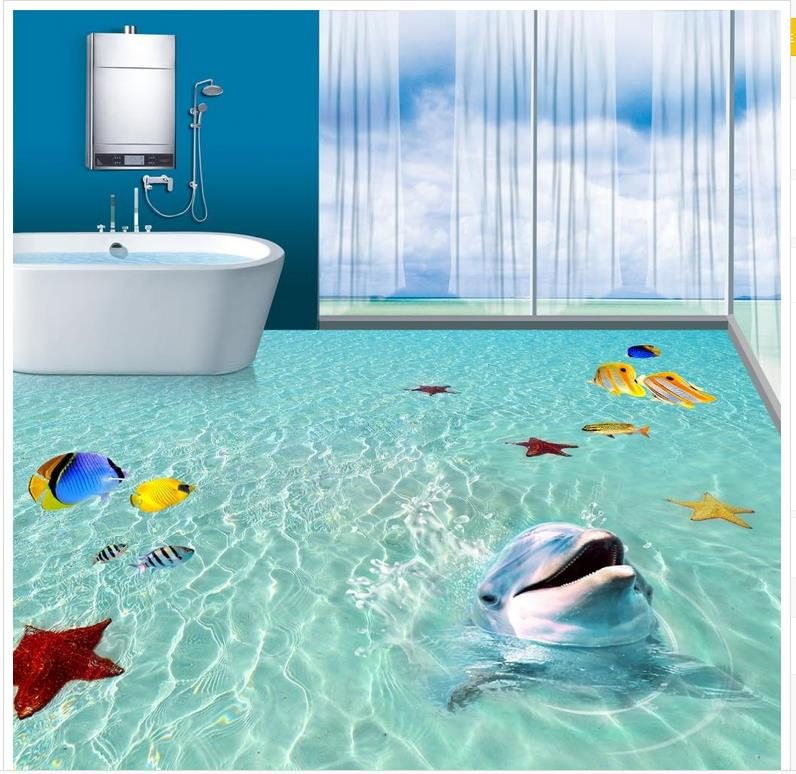 Buy photo wallpaper mural floor ocean for Bathroom mural wallpaper