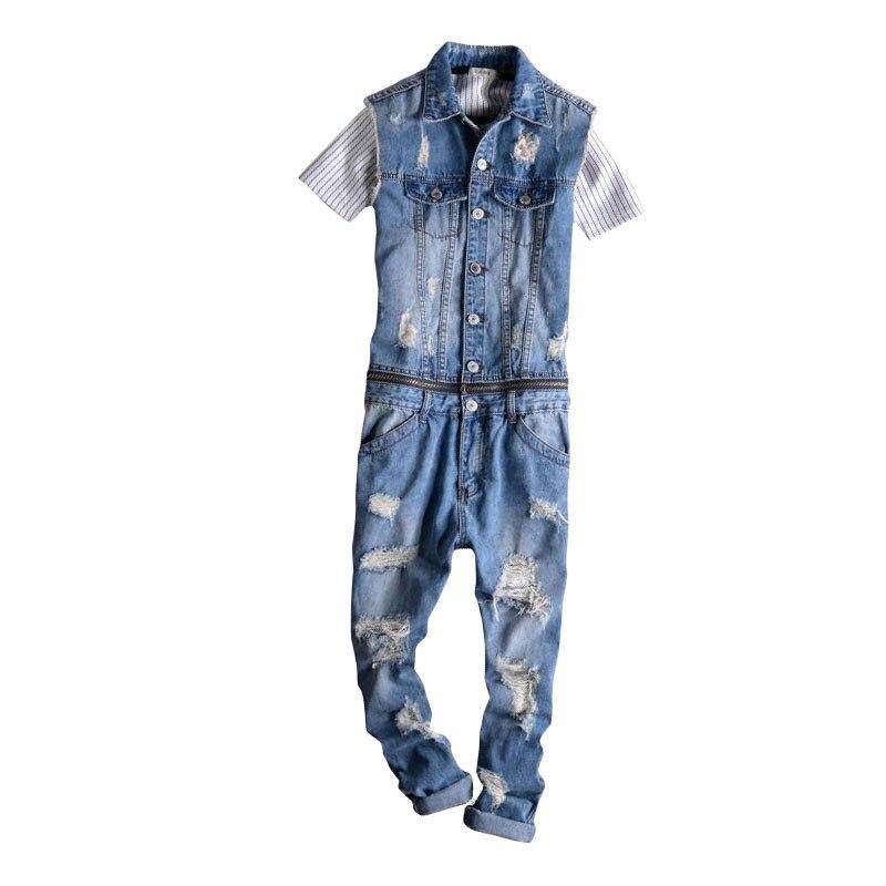 2017 nouvelle mode hommes sans manches Denim salopette décontracté 9 pantalons Jeans combinaisons pour hommes avec des trous neuf longueur pantalon