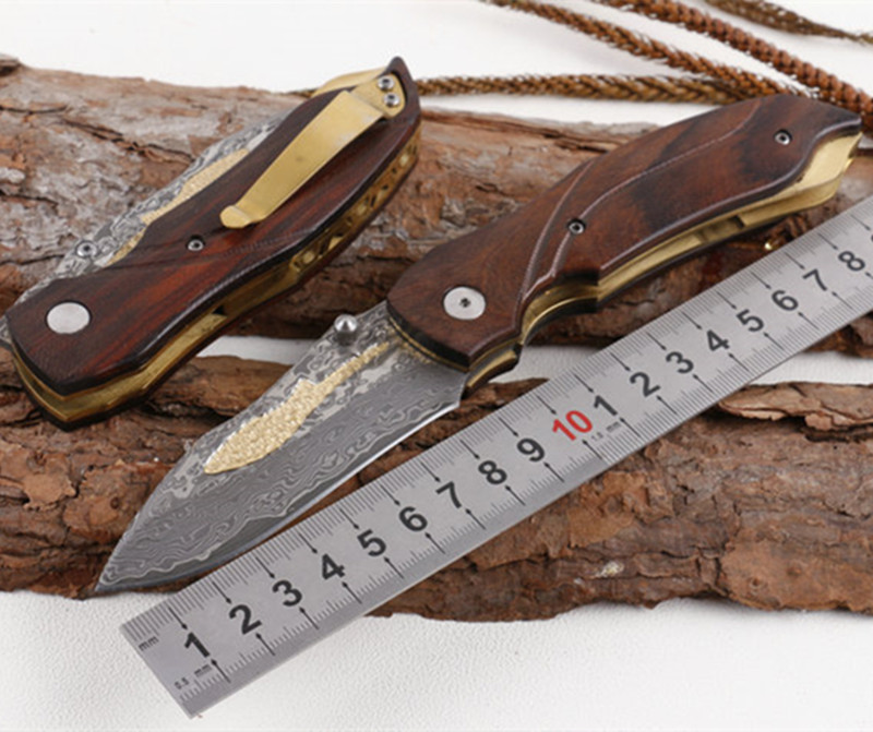 New whale Damascus blade Natural old tree yellow sandalwood handle pocket knife camping hunting survival gift knife EDC tools high quality army survival knife high hardness wilderness knives essential self defense camping knife hunting outdoor tools edc