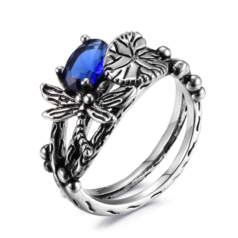 Originality Dragonfly Lotus Silver Ring Ladys Inlaid Natural Crystal Stone rings For Women jewelry Valentines Day 6 7 8 9 10