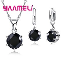 Jewelry Sets 925 Sterling Silver Pendant Necklace&Earring Sets Mysterious Style Dark Black Round Stone For Women(China)