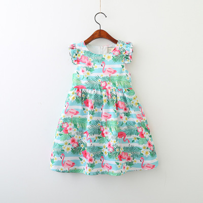 $11.6 Платья для маленьких девочек 2018 новый летний детский короткий рукав детская одежда цветочный узор Фламинго платье vl-542
