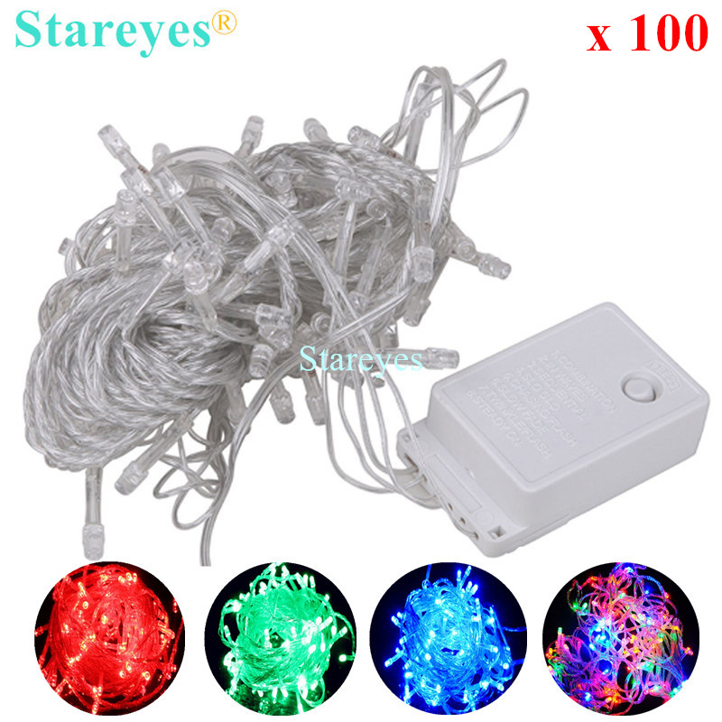 Free Shipping 100 pcs Multicolour 100 LED String LED strip10M 220V/110V Decoration colorful Light for Christmas Party Wedding