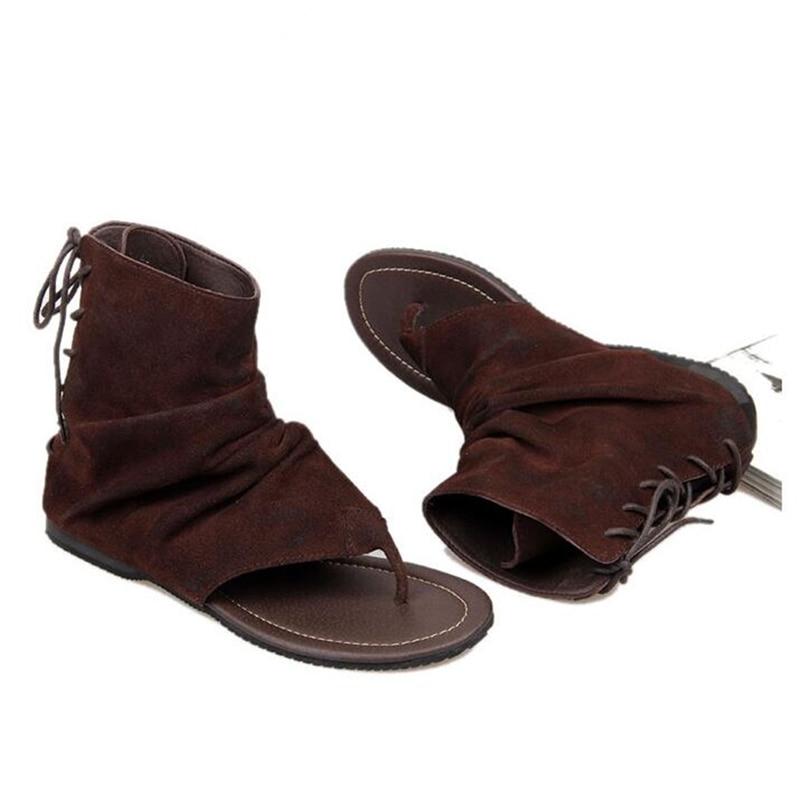 Vintage Cuoio Genuino degli uomini di Stile Romano T strap Infradito Sandali Gladiatore Lace Up Sandali Estivi-in Sandali da uomo da Scarpe su  Gruppo 3