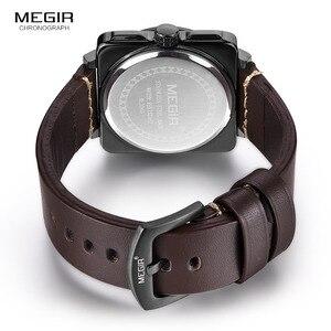 Image 5 - Megir Relojes de pulsera para hombre, de cuarzo, con esfera analógica cuadrada, correa de cuero, resistente al agua, con fecha de calendario, 2040