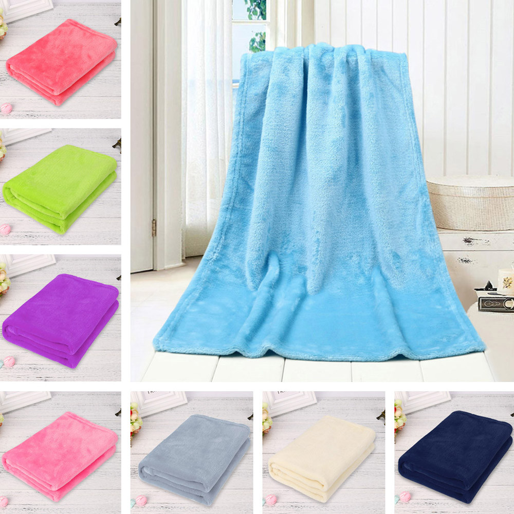 2018 New hot sale 50X70CM Fashion Solid Soft Throw Kids Blanket Warm Coral Plaid Blankets Flannel drop shipping  Jan 24