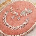 2016 joyería de perlas flor del tocado de la novia de lujo joyería nupcial de la perla de la novia de tres piezas traje de Sistemas de La Joyería nupcial de la joyería