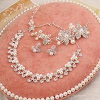3 pz Gioielli di Perle Classico Fiore del Copricapo Della Sposa di Lusso Perla Bridal Jewelry Wedding Suit Set di Gioielli Da Sposa Gioielli di Cristallo