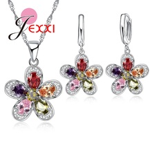 PATICO Elegant Water Drop Austrian Crystal Silver Pendant Necklace Hoope Earrings Set Fashion Flower Bridal Wedding Jewelry Sets