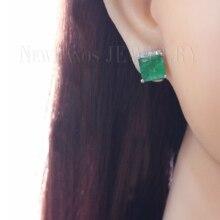 Серьги с зеленым разбитым камнем, квадратные серьги-гвоздики из натурального камня, модные серьги с фианитами, женские модные ювелирные изделия EFX004634