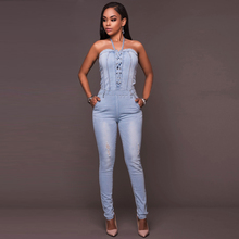 Misstyle Summer Rompers Women Jumpsuits Jeans Band Jumpsuit Fashion Slim Sexy Bandage Sleeveless Bodysuit Casual Romper Femme