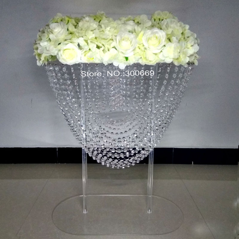 hot large large size acrylic crystal wedding table centerpiece pillar of flower stand cake stand for