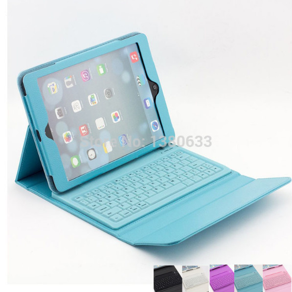 NEW Silicone Bluetooth Keyboard with Protective PU Leather Stand Case Cover For Apple iPad Air /iPad 5 Tablet Free Shipping