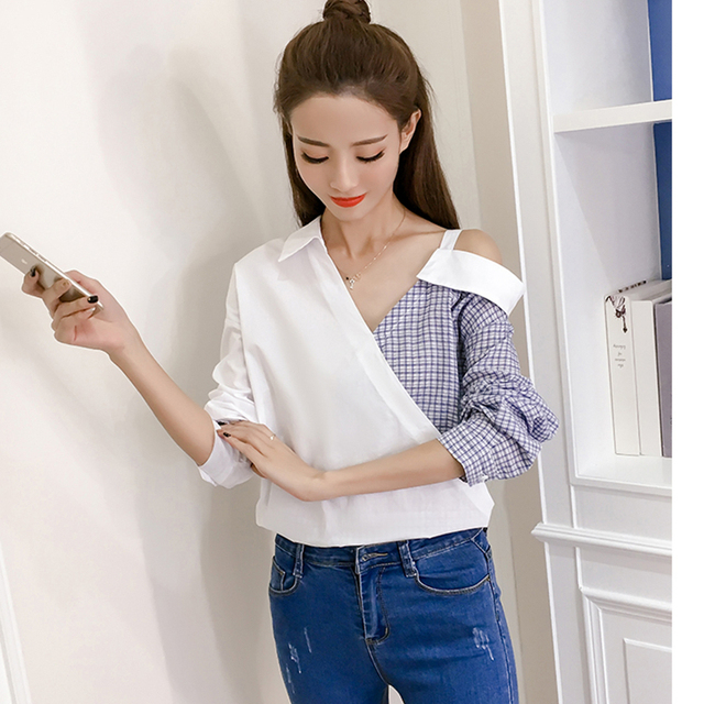937548df3081f2 DoreenBow New Plaid Spliced Blouse Tops Women Fashion Trun-down Collar Long  Sleeve One Shoulder Off Sexy White Shirts, 1 Piece