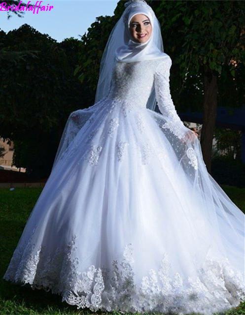 Muslim Arabic Vintage White Appliqued Lace Wedding Dresses Sheer Tulle A Line Long Sleeves Bridal Gowns Corset Vestido de noiva