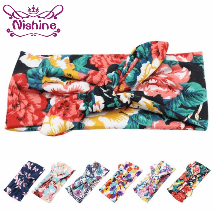 Nishine Bohemian Fashion Hair Accessories Printed Cross Hair Band Baby Unisex Print Knot Cross Headband Headwraps