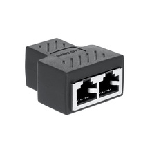 RJ45 Splitter Adapter 1 To 2 Ways Dual Female Port RJ45 LAN Ethernet Network Cable Female Splitter Connector Adapter цена и фото
