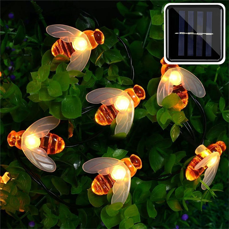 New Solar Powered Cute Honey Bee Led String Fairy Light 20leds 50leds Bee Outdoor Garden Fence Patio Christmas Garland Lights 1