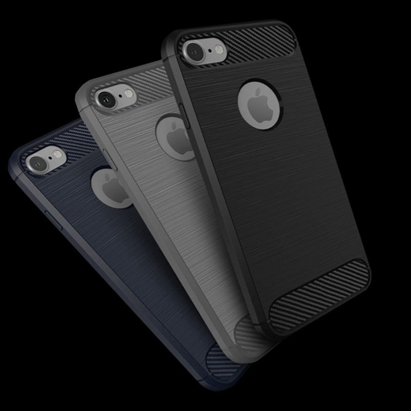 For iPhone 7 8 plus XS iPhone 5s SE 5 XR Armor Case Carbon Fiber Silicone Case Cover For iphone XS Max 8 iphone 6 6s Plus Capa