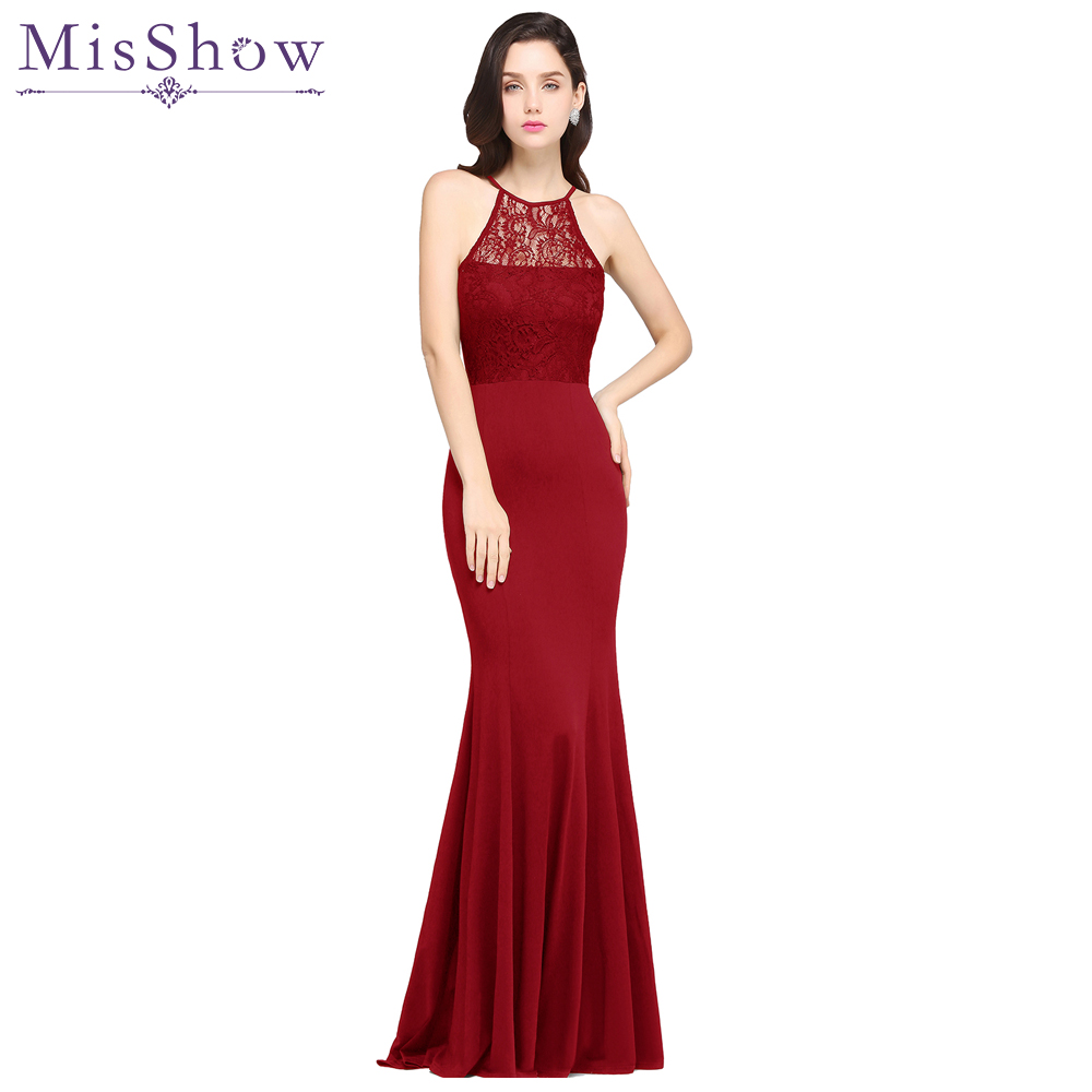 In Stock Fast Ship Elegant Halter Long Evening Dress Party Women Lace Mermaid Evening Gown Formal Dresses Robe De Soiree Longue