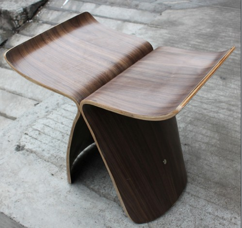 Antique low wooden butterfly stool designed by Sori YanagiAntique low wooden butterfly stool designed by Sori Yanagi