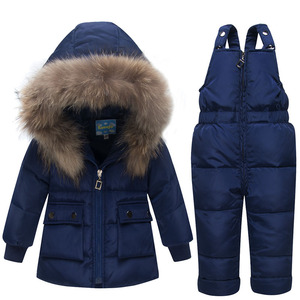 Image 4 - Autumn Winter Jacket Kids For Boys Gilrs Children New Year Down Jackets Overall Hooded Snowsuits Fur Parka Coat Pant Set Outwear