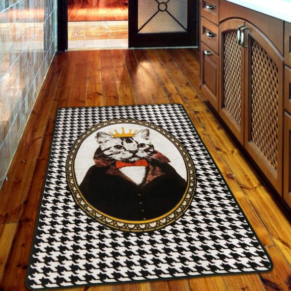 Beautiful Kitchen Rugs: Creative Houndstooth Patternt With Cat Living Room Carpet
