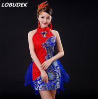 Female China Style Ethnic Dance Costume Blue Red Fashion Sexy Slim One Pieces Dress Singer Dancer