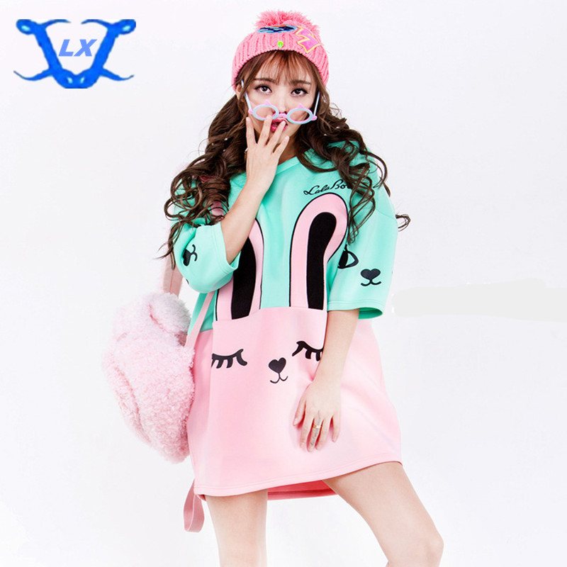 Adorable Cute Soft Cotton Anime Pattern Long T-shirt Sweet Lolita Japan Kawaii Female Tops Cat Bunny T-shirt Plus Size