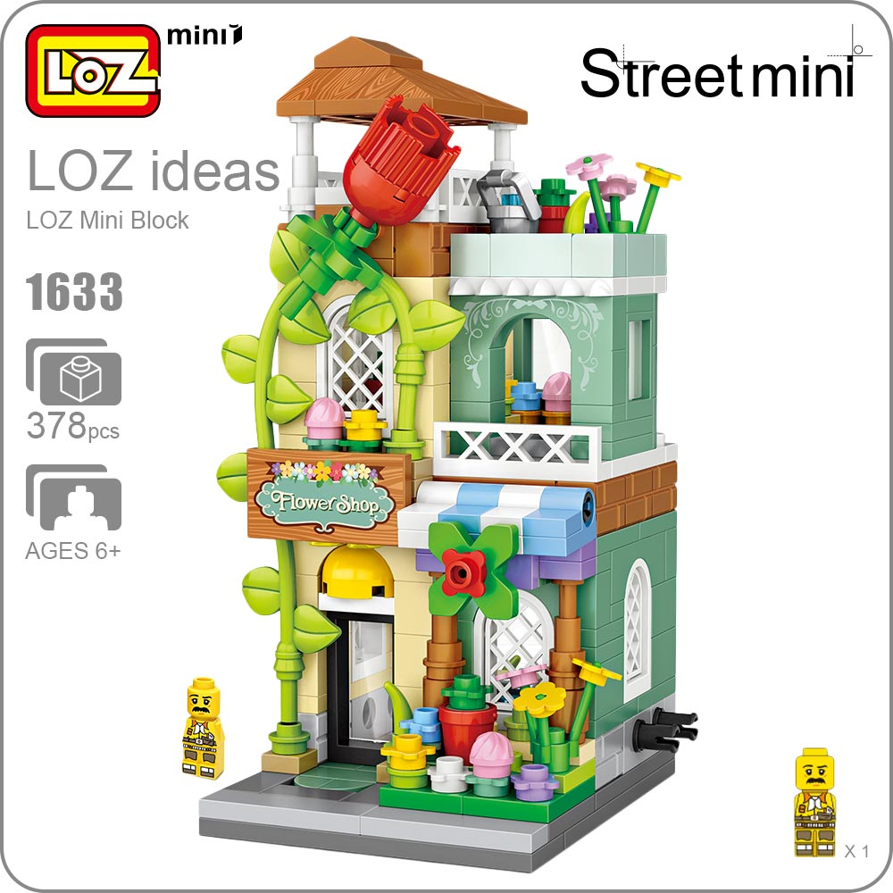 LOZ Mini Street Scene Building Blocks City Kids Educational Toys for Children Bricks Model Store Shop Florist Architecture 1633 hot sembo block compatible lepin architecture city building blocks led light bricks apple flagship store toys for children gift
