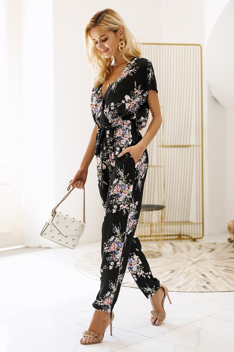 Simplee Vintage floral print boho jumpsuit romper V neck short sleeve casual jumpsuit Loose sash summer jumpsuit women overalls 7