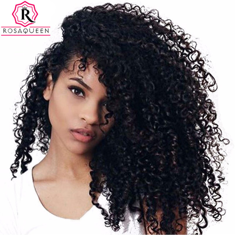 3B 3C Kinky Curly Lace Closure 100% Human Hair Brazilian Remy Hair 3B 3C Texture Natural Black Color Bleached Knots Rosa Queen