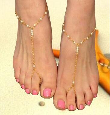 Free shipping,Europe and the United States the new jewelry,all hand pearl beaded fringe women's gilded even refers to the ankles