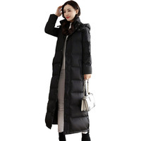 Long Down Cotton Winter Jacket Women Warm Thick Black Outerwear Casual Parka High Quality Manteau Femme