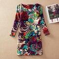 Plus size mulheres roupas de primavera 2016 moda outono mulheres da cópia da flor dress manga comprida feminina outono casual vestidos vestidos 86