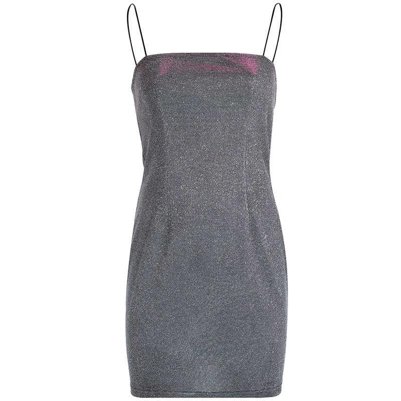 Rapwriter сексуальное мини-платье на бретельках женское 2019 тонкое блестящее повседневное базовое сексуальное платье с открытой спиной Vestidos mujer вечерние платья