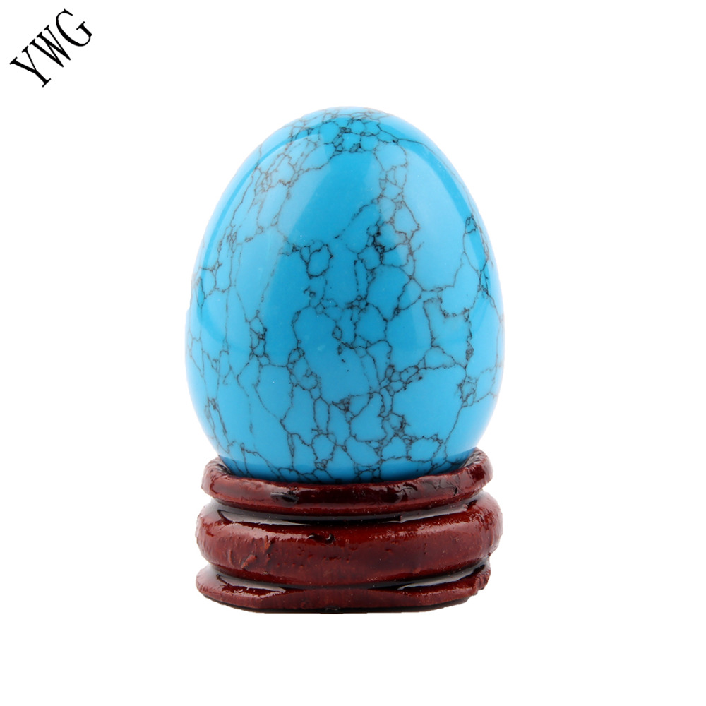 Turquoise Opal Rose Quartz Red Jasper Egg With Wood Stand Natural Chakra Healing Crystal Reiki Stone Carved Balls Free Pouch
