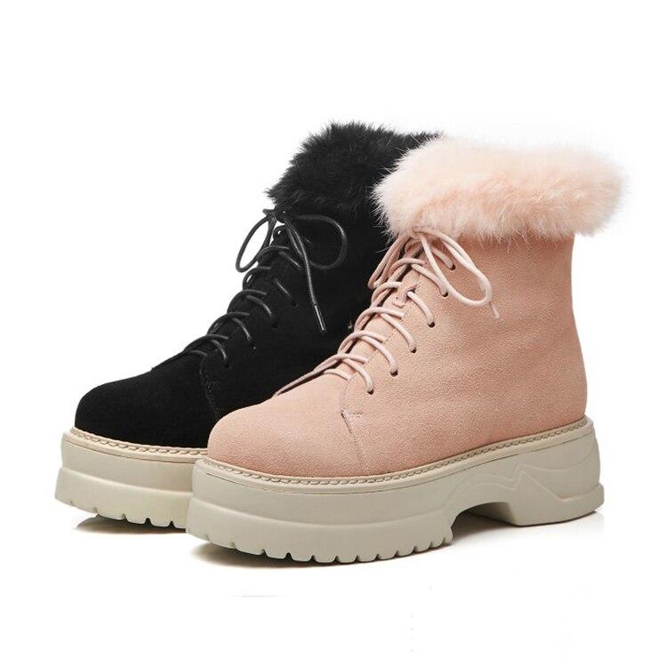 Winter Martin Plattform Kaninchen Haar Schnee Stil Pink 2019 black Up Rom Frauen Wildleder Stiefel Lace Warme Mljuese Kuh Plüsch Hq1a7ww