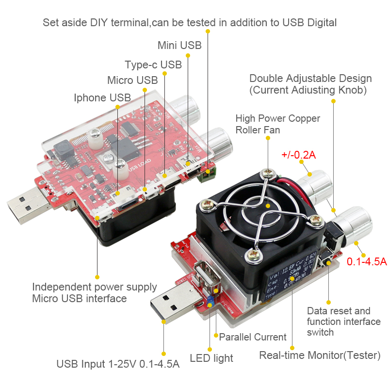 35w usb load electronic adjustable constant current aging resistor battery voltage capacity tester qualcomm qc2.0/3.0 voltmeter
