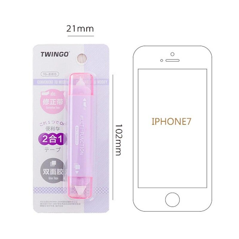 Купить с кэшбэком Creative 2 In 1 Mini Double Sided Correction Tape Practical School Stationery Adhesive Tape Punctiform Adhesive Glue Tape Kawaii