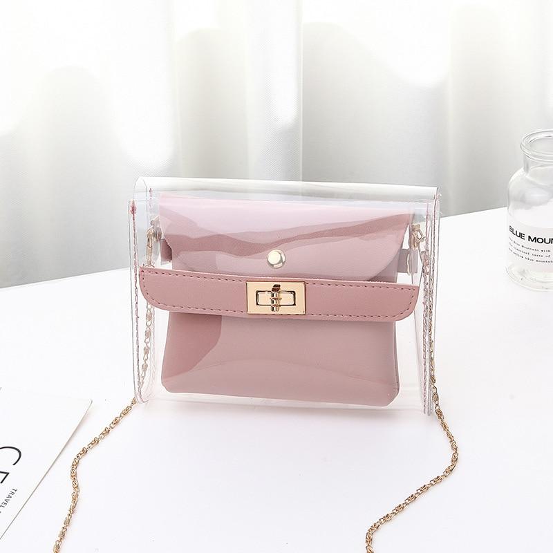 2020 New Fashion Transparent Shoulder Crossbody Bags PU+PVC Clear Bag Satchel Bag Ladies Girl Casual Chain Handbags And Purses