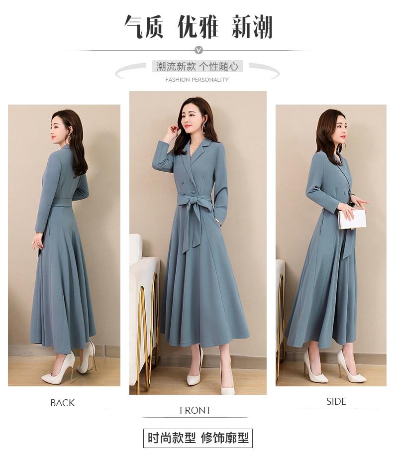 Spring and Autumn 2019 New Women's Dresses Korean Edition Long Sleeve Dresses Overlap Long Popular Temperament with Bottom 109
