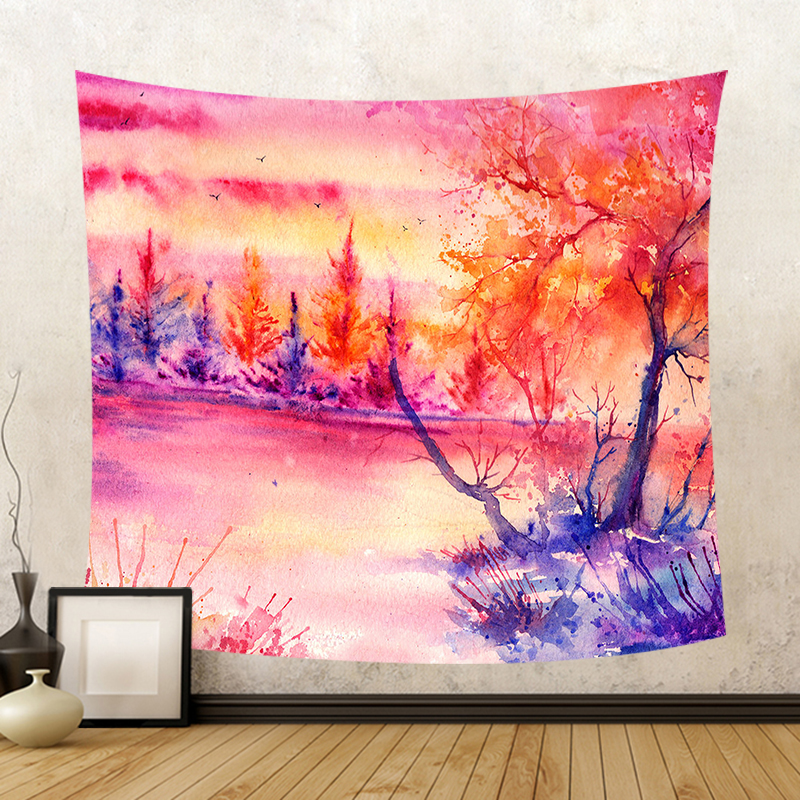 Watercolor Landscape Printing Tapestry Forest Trees Cabin Bird River ...