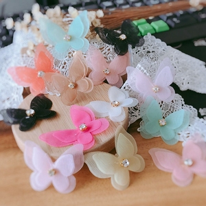 10PCS/Lot Lace Patches Applique Flower Pearl Stereo Butterfly Wedding Dress DIY Lace Trim Bride Hair Veil Clothes Headwear(China)