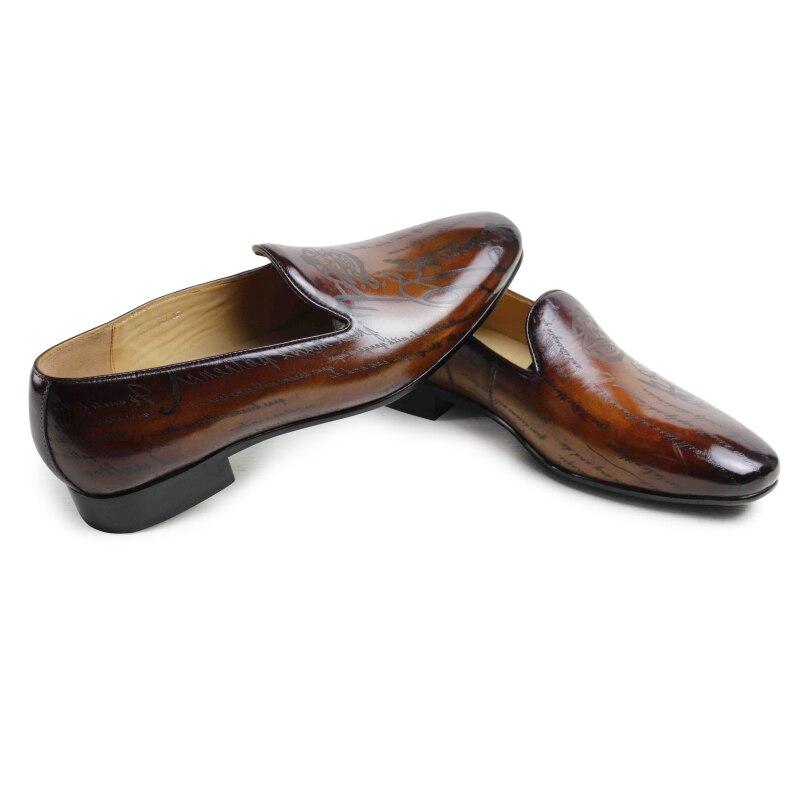 Cuir Chaussures Fête Main green Vikeduo Tenue Mocassins Décontractées Hommes Mariage Brown jacinth Marque Luxe Loisirs Designer Mode De Véritable Mâle Ie9E2HWDY