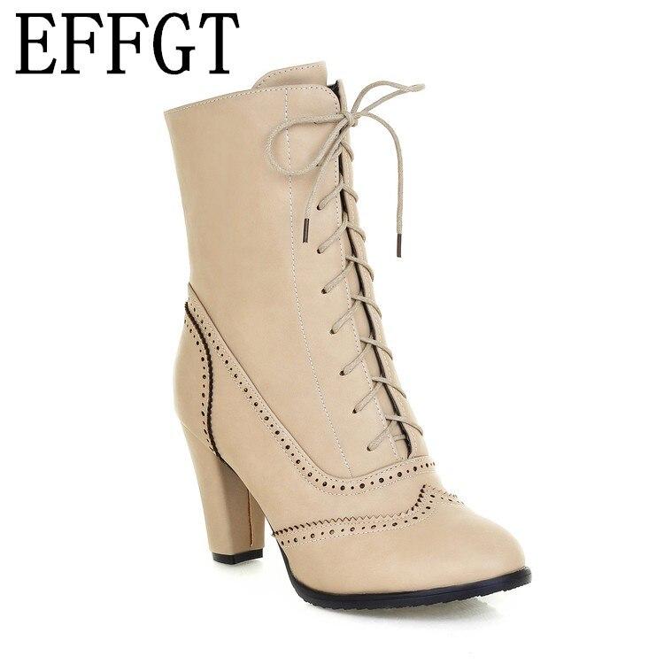 Bout Chaussures Dames Casual Effgt 2019 Lacent Talon Z96 Beige noir Haute Femmes Mi Martin jaune Court Bottes Pointu Automne mollet PiuZXk